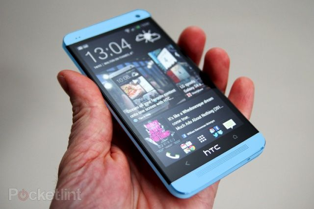 Mockup of a blue HTC One.