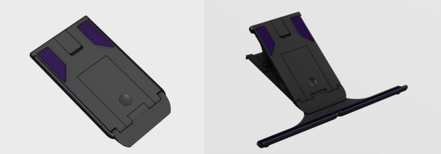 "CAD images of the Plinth ""universal tablet stand,"" as shown on the product's Kickstarter page."