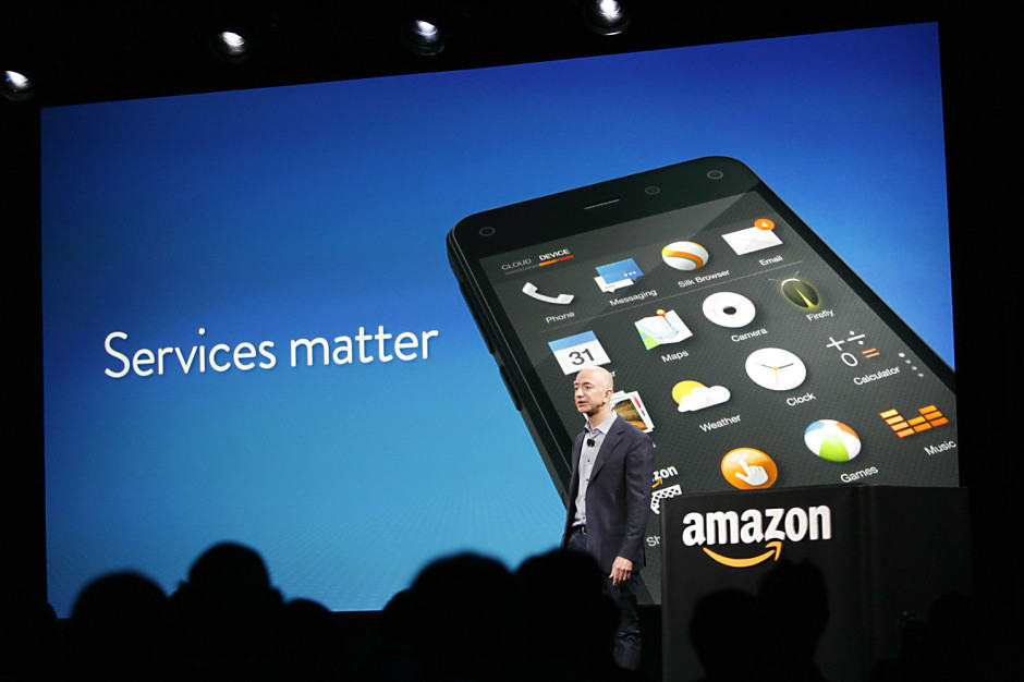 Amazon CEO Jeff Bezos touts Fire Phone's services at the Seattle launch event. But will Amazon's first phone really deliver? Photo: Roberto Baldwin/The Next Web