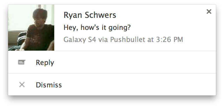 Quick reply for SMS right in your browser. Image: Pushbullet.