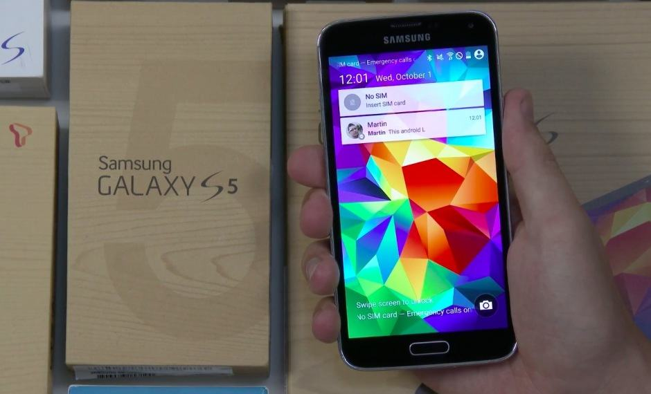 Android L running on the Galaxy S5. Video: SamMobile
