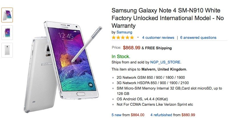 Cult of Android - Samsung's Galaxy Note 4 hits Amazon with a