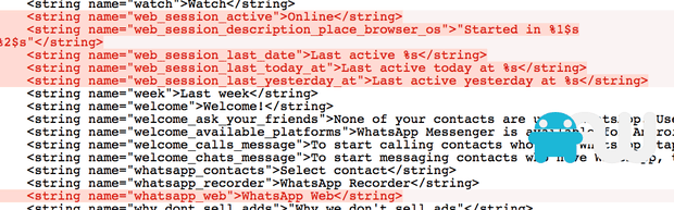 WhatsApp Web references discovered inside the Android APK. Image: AndroidWorld