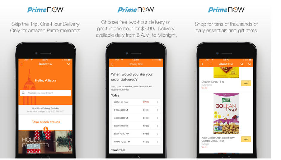 Amazon Prime Now for iOS. Photo: Amazon