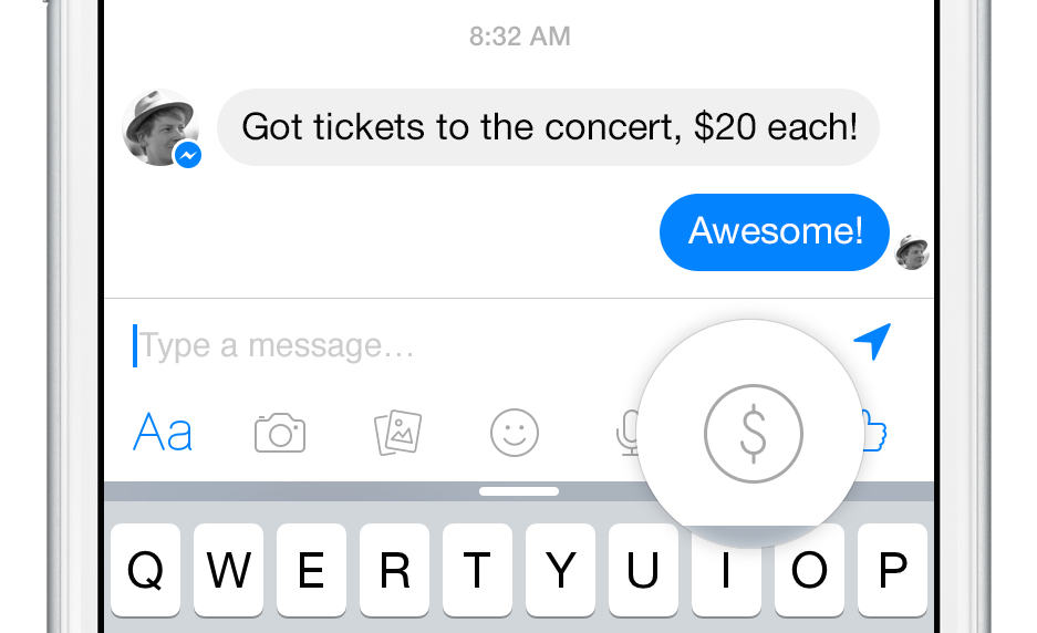 Sending money in Facebook Messenger is that easy.