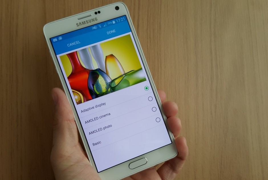 Display modes on Samsung Galaxy Note 4
