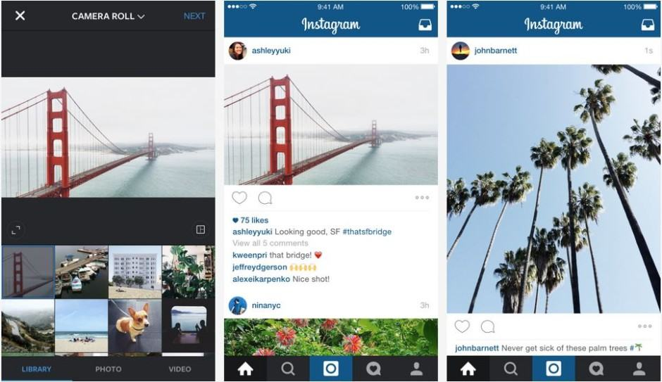 Instagram adds portrait and landscape support. Screenshots: Instagram