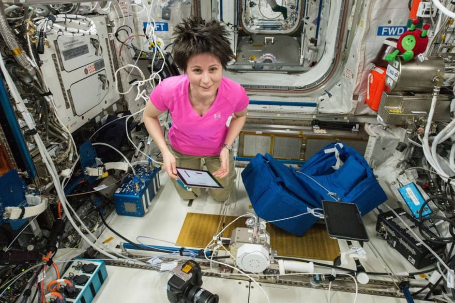 ESA astronaut Samantha Cristoforetti uses an iPad for some science work on the International Space Station. Photo: NASA
