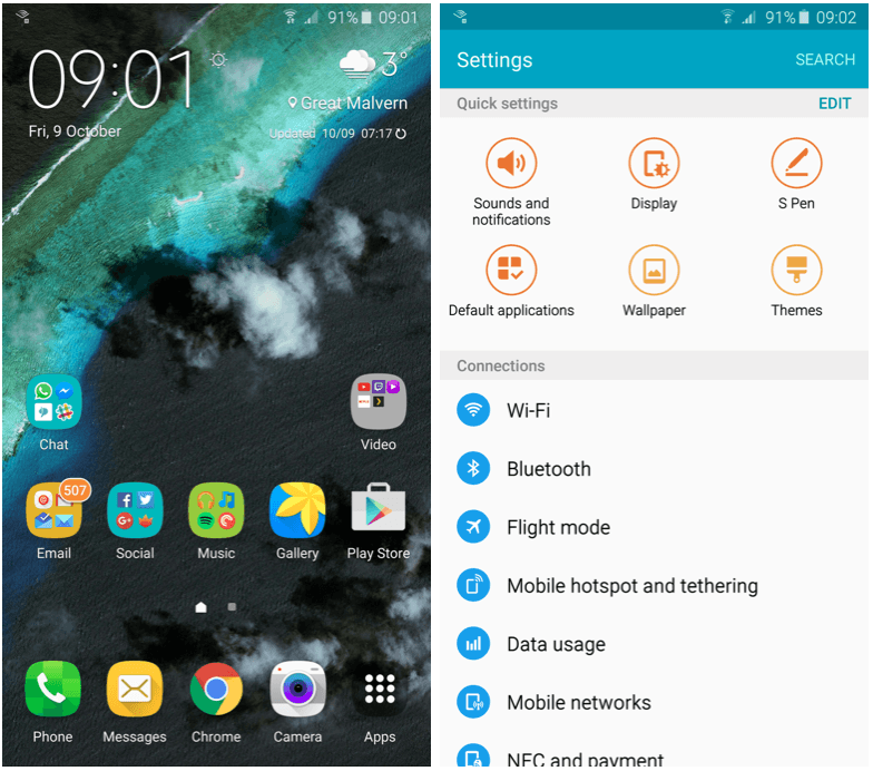 TouchWiz is more customizable on Note 5. Screenshots: Killian Bell/Cult of Android