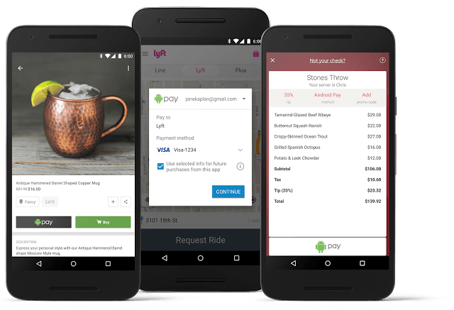 Android Pay comes to your apps. Photo: Google
