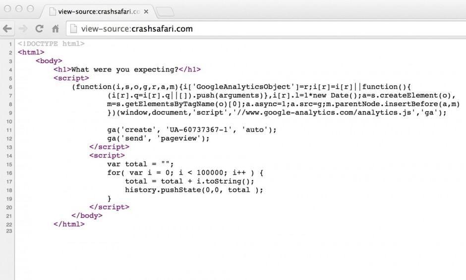 The website code as viewed with a browser. Photo: Screengrab