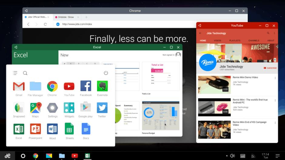 Remix OS has a dedicated desktop UI. Photo: Jide