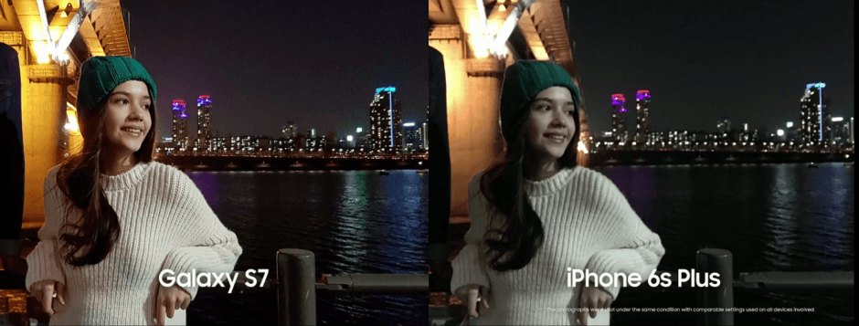 Galaxy S7 vs. iPhone 6s Plus in low light. Photo: Samsung