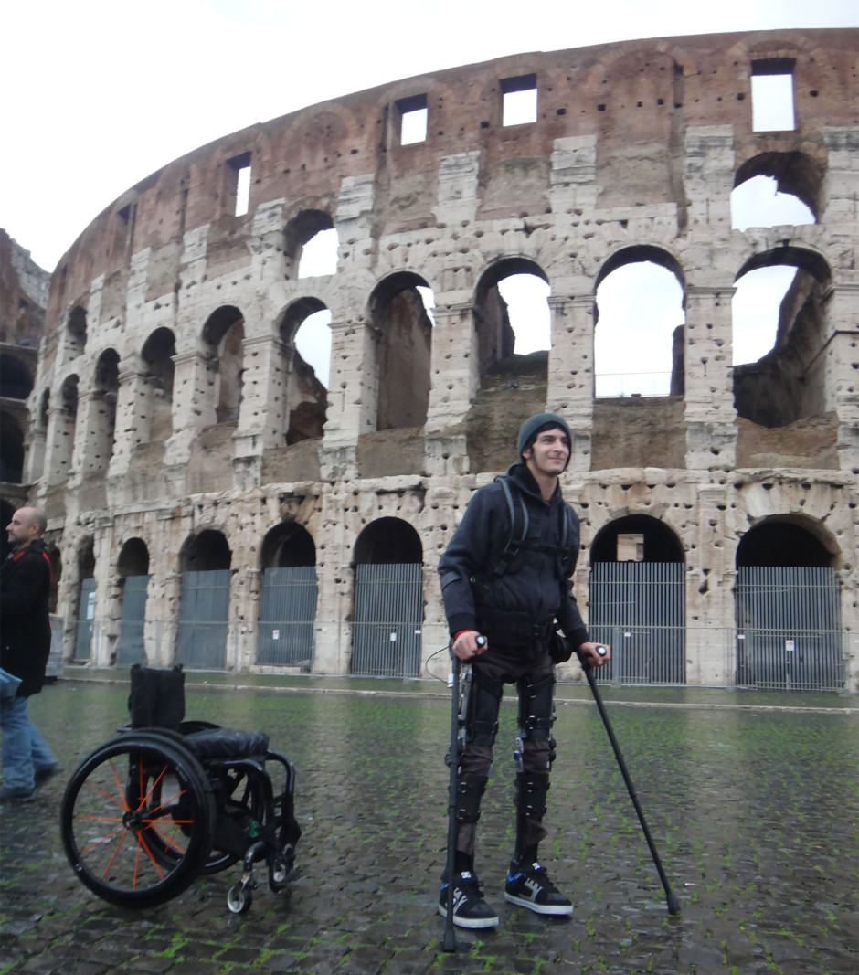 Test pilot Sanchez takes in the sites of Rome before a conference. Photo: SuitX
