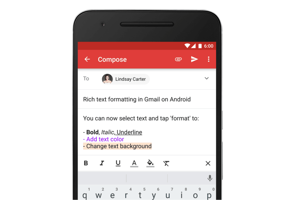 Rich text finally comes to Gmail. Photo: Google