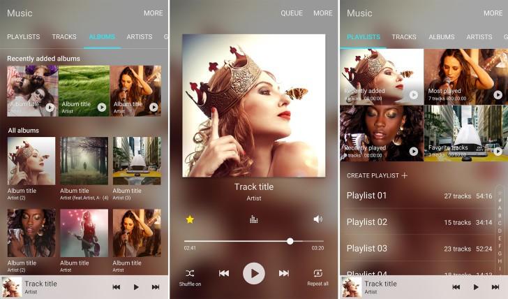 Samsung's new Music app. Screenshots: Samsung