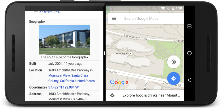 Split-screen finally comes to stock Android. Screenshot: Google