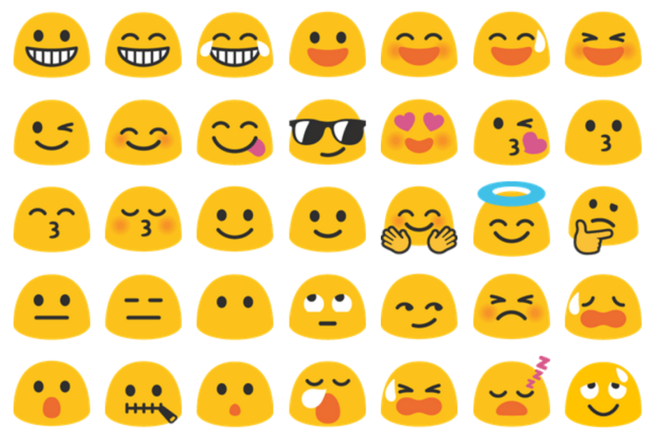Some of Android N's improved emoji. Photo: Google