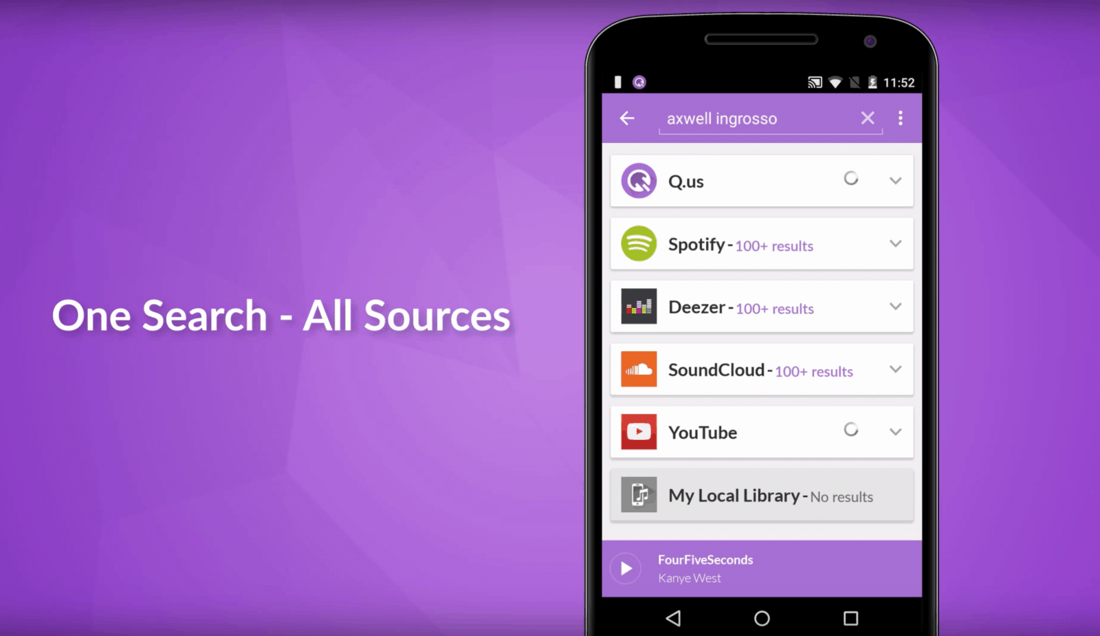Qus searches multiple sources simultaneously - Photo: Google Play Store