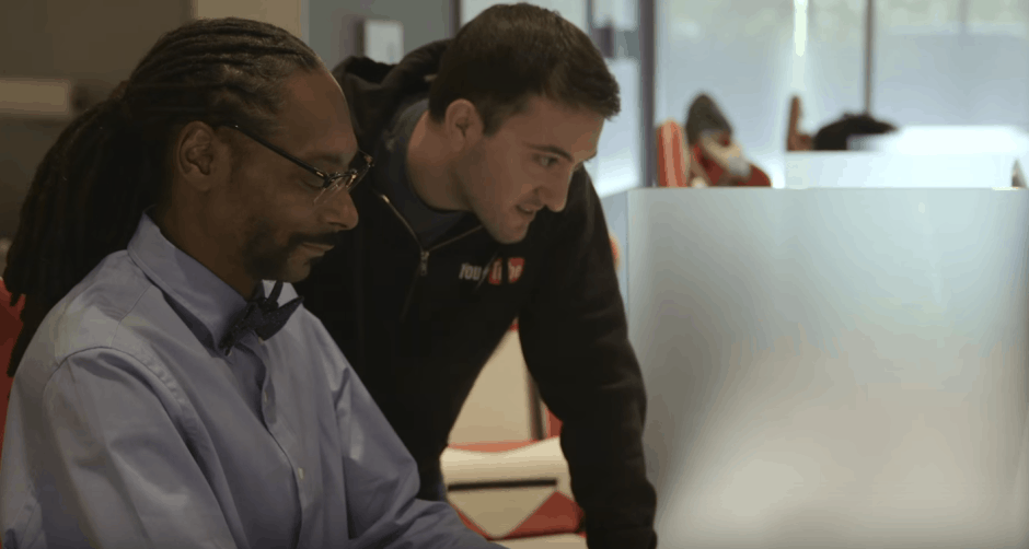That's Snoop Dogg... churning out code for YouTube. Photo: YouTube