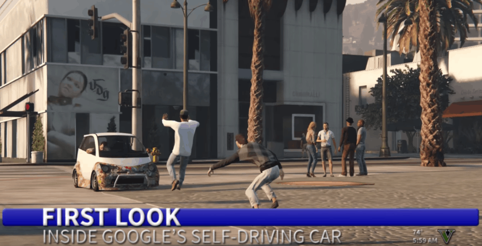 Beware the Google car! Photo: Pizzaforbreakfast/YouTube