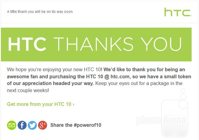 HTC is sending a token of appreciation to all HTC 10 customers. Photo: Reddit